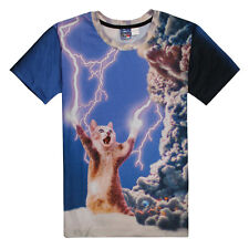 Hiphop Women Men Animal Lightning cat Funny 3D Space Casual T-Shirt Tops Tee NEW
