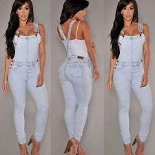 Women Washed Jeans Denim Casual Loose Jumpsuit Romper Overall Bib Pants Trousers