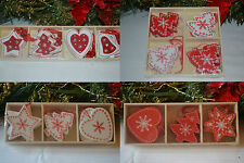Wooden red white shabby chic Christmas decorations tree star heart reindeer