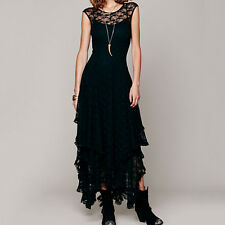 Bohemian Hippie Boho French Court Sheer Lace Slip Gypsy Festival Dress QW