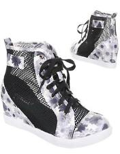 Women's Ladies Wedge Trainers Mid Heel Platform Sneakers High Top Hi Ankle Boots