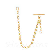 QUALITY NEW Gold plated Single Albert  Pocket watch chain fob watch T bar 022