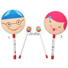 Lovely Smiley Hand Drum with Drumstick Percussion Instrument Toddler Musical Toy