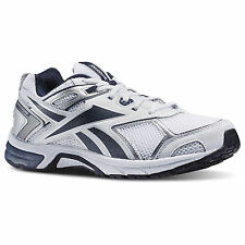 Reebok Men's Quickchase Running Shoe [ White/Faux Indigo/Pure Silver ]