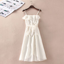 Women Fashion Flounced Spaghetti Strap Chiffon Dress White Lacing Party Dresses