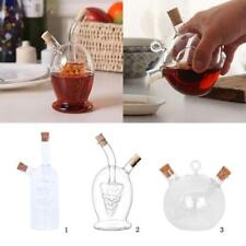 2 Outlets Glass Olive Oil Dispenser Jar Vinegar Bottle Kitchen Sauce Cruets Tool