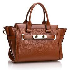 Women Satchel Tote Shoulder Bag Purse Handbag Genuine Leather Cowhide Croco T1