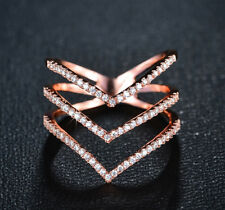 18k Rose Gold GP made w/ Swarovski Crystal Pave Stone V Ring Index Finger