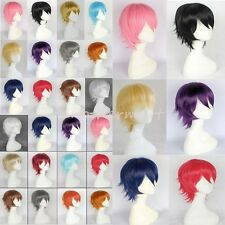 Short Cosplay Full Wigs 100% Real Heat Resistant Hair Wig Layered Warped Party n