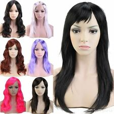 USA Stock Women Party Full Wig Long Straight Dark Black Blonde Auburn Brown Grey
