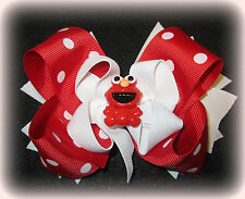 Red Dot Elmo Boutique Hair Bow 3 layers of Loops Spikes Funky Hairbows Toddler