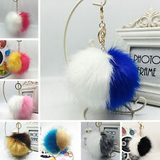 Colorful  Large Faux Fox Fur Pompom Ball Handbag Cell Phone Pendant Key ChainHot