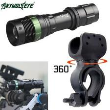 5000LM CREE XML T6 LED Zoomable Flashlight Torch + Bike Bicycle 360° Mount Clip