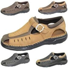 Mens Buckle Sandals Walking Fashion Casual Summer Beach Leather Wide Fit Shoes