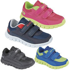 KIDS BOYS GIRLS UNISEX SHOCK ABSORBIN TRAINERS TOUCH FASTENER SCHOOL SHOES