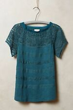 ANTHROPOLOGIE Meadow Rue Gossamar Lace Tee Top S Green NEW