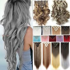 100% Real Thick 8 Piece Clip In Hair Extensions Full Head 8 pcs as Human Hair f7