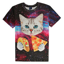 Women Men cat Eat Pizza Space Galaxy Starry Fun 3D Print Casual T-Shirt Tops Tee