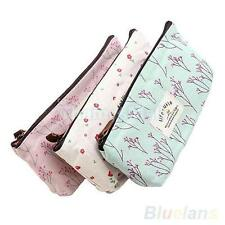 Flower Pencil Pen Case Cosmetic Coin Bag Storage Pouch Purse Gift 3 Colors