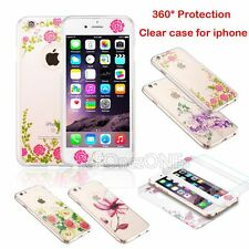 Thin Flower 360° Hard  Case + Tempered Glass Clear Cover For Apple iphone Model