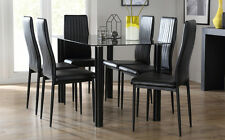 Lunar & Leon Glass Dining Table And 4 6 Chairs Set (Black)
