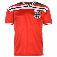 England 1982 Away Jersey Score Draw Mens Red Retro Football Soccer Top Shirt