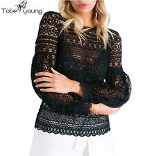 Sexy Women Lace Crochet Long Sleeve Cut Out Top Blouse Shirt Office Lady Casual