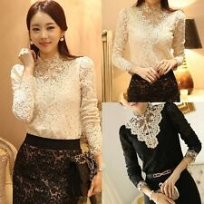 Elegant Women Long Sleeve Beaded Shirts Lace Chiffon Top Fitted Blouse T-Shirt