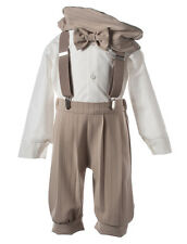 NEW Boys Tan Pinstriped Knicker Set with Khaki Suspenders,  Matching Hat & Tie