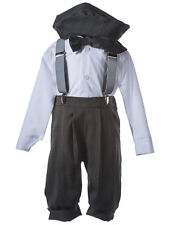 NEW Boys Grey Knicker Set  with Silver Suspenders & a Matching Hat and Bow Tie
