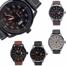 New Men's PU Leather Date Sport Army Analog Quartz Wrist Watch