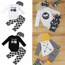 3pcs Baby Boy Girl Kids Newborn Infant Romper Hat Bodysuit Outfits Clothing Set
