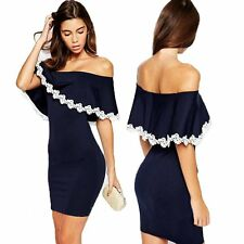Women Navy Strapless Lace Ruffle Bandage Prom Party Cocktail Mini Bodycon Dress