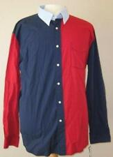 TOMMY HILFIGER mens Md button down dress red navy blue chambray shirt 5 NEW