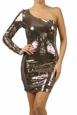 New S M L Mini Dress One Shoulder Sleeve Cocktail Sequin Sexy Sparkling Bronze