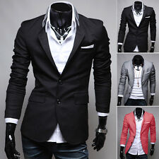 British Stylish Fashion Mens Casual Slim Fit Two Buttons Blazer Suit Coat Jacket