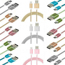 Strong Fabric Braided Micro USB Charger Cable Data Sync Lead for Samsung Galaxy