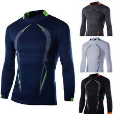 NEW Mens Slim Fit Cotton Shirts Quick-drying Long Sleeve Casual T-Shirt Tee Tops