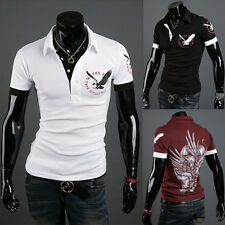 New Mens Slim Fit Stylish T-Shirts Short Sleeve Casual Polo Shirts Tee 3 Color
