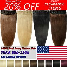 "18""20""22""One Piece Clip In Real Remy Human Hair Extensions 3/4Full Head SU342"