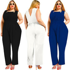 Plus Size Women Casual Backless Rompers Jumpsuits Pants Evening Party Cocktail