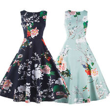 Women Vintage 1950s Floral Swing Cocktail Evening Prom Ball Gown Pinup Tea Dress