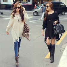 Women Fringed Hem Knit Sweater Top Loose Sweater Dress Long Knitting Outerwear