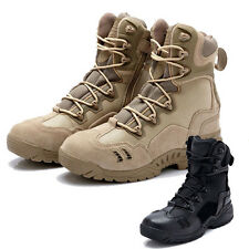 Mens Leather Military Tactical Combat Outdoor Camping Climbing High Top Boots