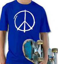 PEACE SIGN ROYAL BLUE YOUTH T SHIRT BOYS & GIRLS MUSIC PEACE HAPPY HIPPIE ROCK