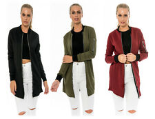 Fashion Womens Slim Long Sleeve Coat Jacket Outwear Cardigan Zip Plain Basic Top