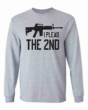 I Plead The 2nd Gray Long Sleeve Shirt Amendment AR-15 Rifle Weapon Gun Control