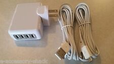4 Port Wall Charger+2 10ft Rapid Charge Sync Micro USB Cables For Android Phones