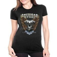 Biker Fitted Shirt American Steel Live To Ride Chopper JUNIORS