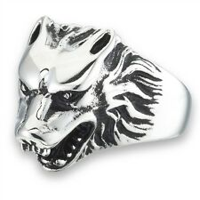 Stainless Steel Snarling WOLF Head Wolve Fashion Ring Size 8-15